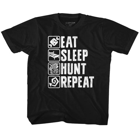 Monster Hunter Toddler S/S T-Shirt - Hunt Repeat - Solid Black