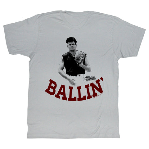 Major League Adult S/S T-Shirt - Ballin - Solid Silver
