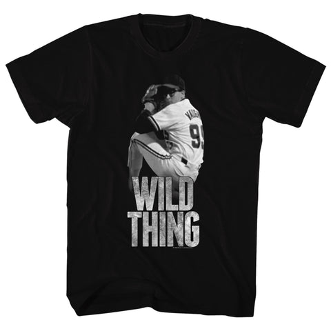 Major League Adult S/S T-Shirt - Wild Thing - Solid Black