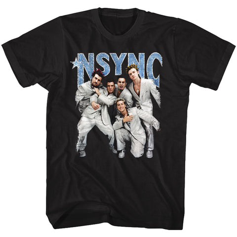 NSYNC Adult S/S T-Shirt - Strike A Pose - Solid Black