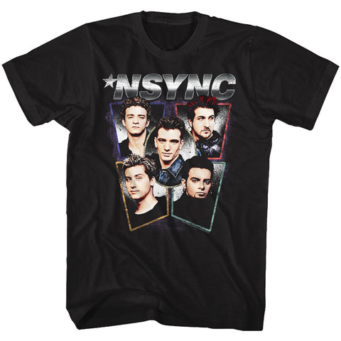 NSYNC Adult S/S T-Shirt - Heads - Solid Black