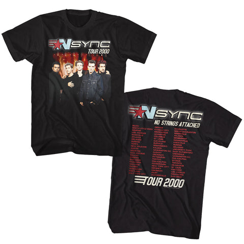 NSYNC Adult S/S T-Shirt - Tour2000 - Solid Black
