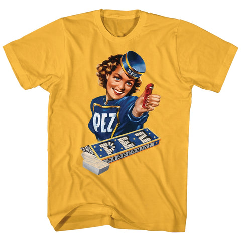 Pez Adult S/S T-Shirt - Vintage Pez Girl - Solid Ginger