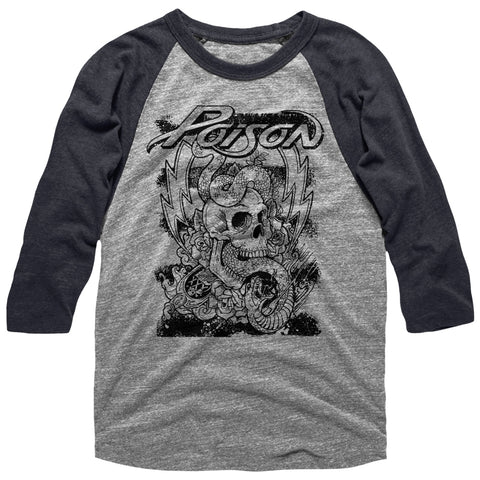 Poison Adult 3/4 Sleeve Raglan - Skull Snake Lightning - Heather/Heather Gray Heather/Dark Heather