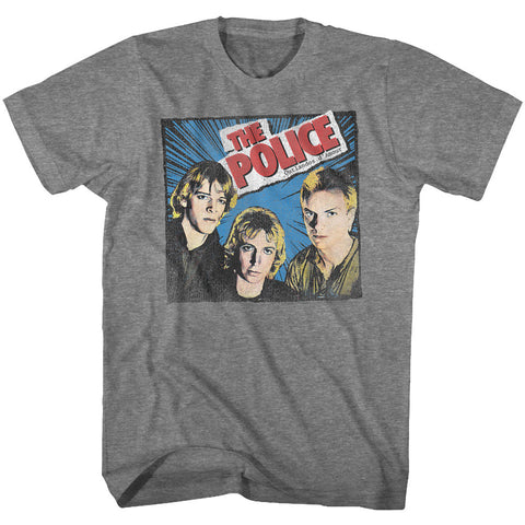 The Police Adult S/S T-Shirt - Comic-Ish - Heather Graphite Heather