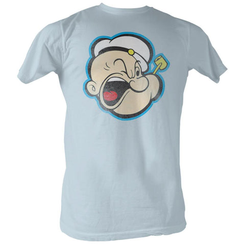 Popeye Adult S/S T-Shirt - Head Color - Solid Light Blue