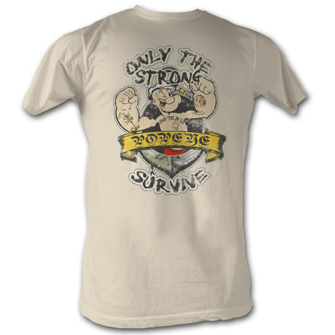 Popeye Adult S/S T-Shirt - Only The Strong - Solid Natural