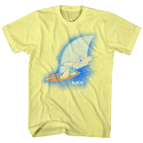 Popeye Adult S/S T-Shirt - Sailin' On - Heather Yellow Heather