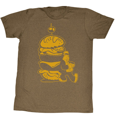 Popeye Adult S/S T-Shirt - Burger For The Boy - Heather Mocha Heather