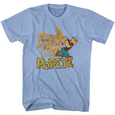 Popeye Adult S/S T-Shirt - Fightin Popeye - Heather Light Blue Heather