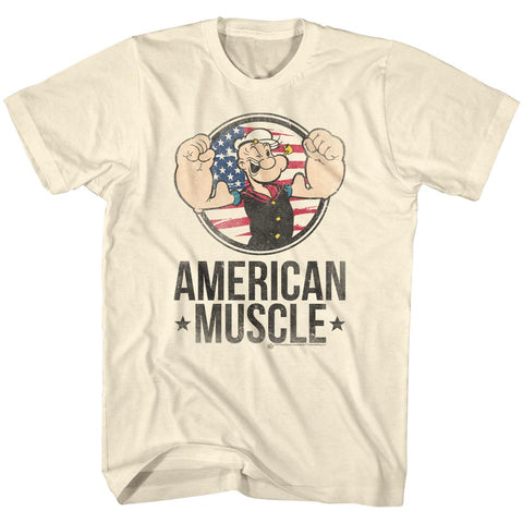 Popeye Adult S/S T-Shirt - Muscle - Solid Natural