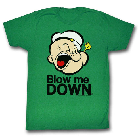 Popeye Adult S/S T-Shirt - Blow Me Down - Solid Kelly