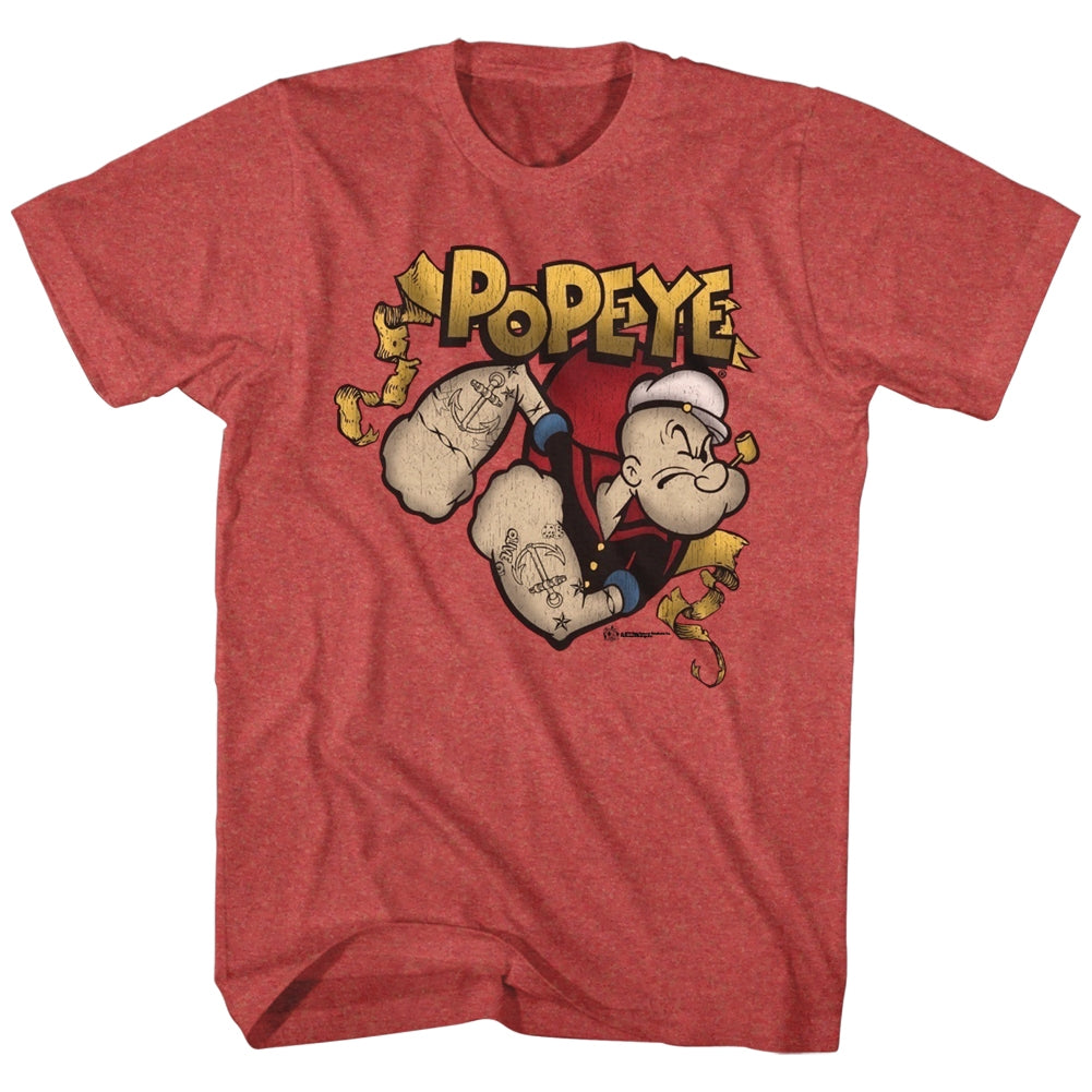 Popeye Mens S/S T-Shirt - Gold Banner - Heather Red Heather