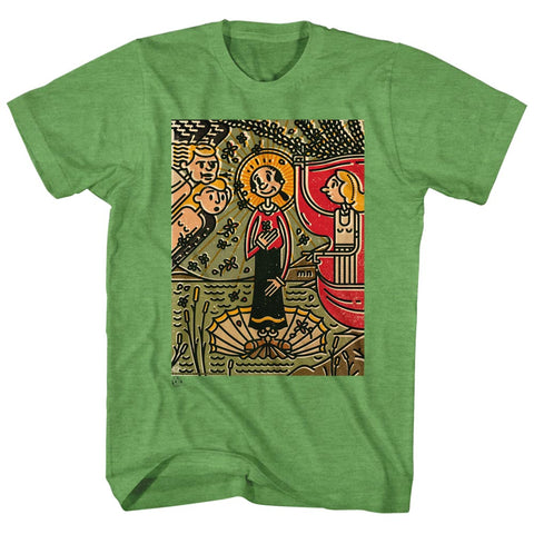 Popeye Adult S/S T-Shirt - Mosaic Olive - Heather Kelly Heather