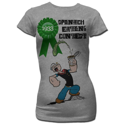 Popeye Juniors S/S T-Shirt - Spinach Contest - Heather Gray Heather