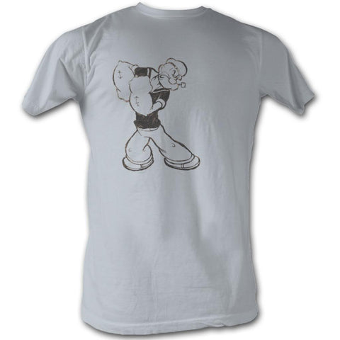 Popeye Adult S/S T-Shirt - Popeye Washed - Solid Silver