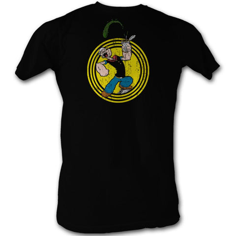 Popeye Adult S/S T-Shirt - Popeye Spinach Circle - Solid Black
