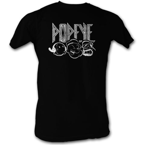 Popeye Adult S/S T-Shirt - Kiss Style - Solid Black