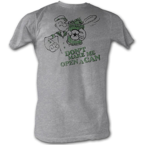 Popeye Adult S/S T-Shirt - Open A Can - Heather Gray Heather