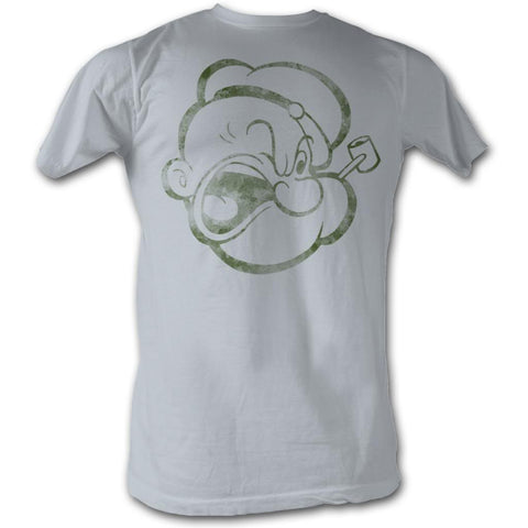 Popeye Adult S/S T-Shirt - Poppahead - Solid Silver