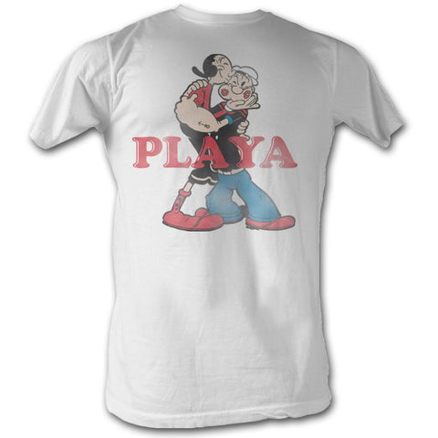 Popeye Adult S/S T-Shirt - Playa - Solid White