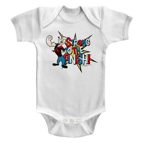 Popeye Infant S/S Bodysuit - Strong! - Solid White