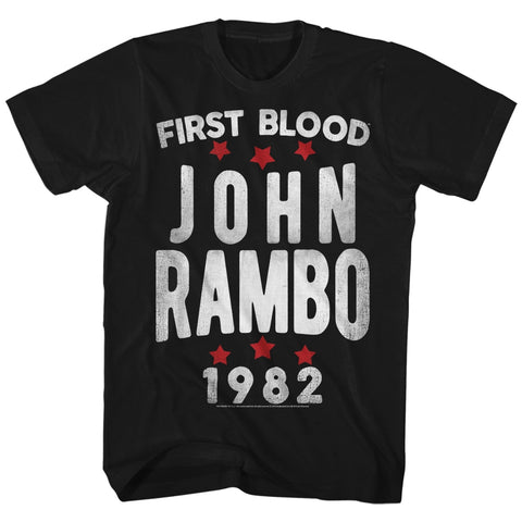 Rambo Mens S/S T-Shirt - Stars - Solid Black