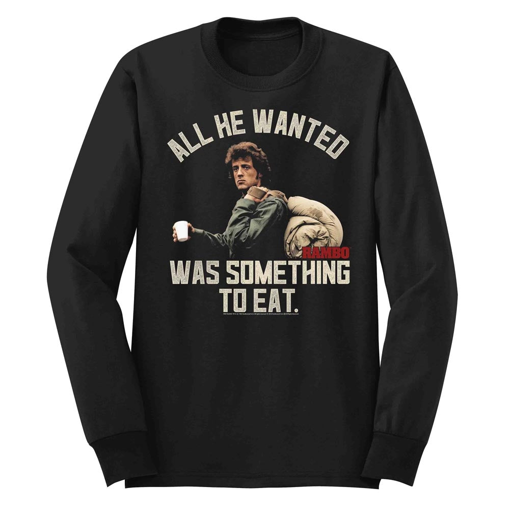 Rambo Mens L/S T-Shirt - Something To Eat - Solid Black