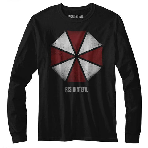 Resident Evil Adult L/S T-Shirt - Umbrella - Solid Black