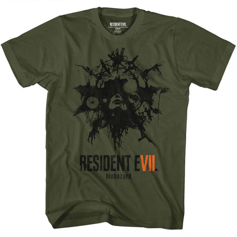 Resident Evil Adult S/S T-Shirt - Talisman - Solid Military Green