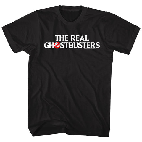 Real Ghostbusters Adult S/S T-Shirt - Logo - Solid Black