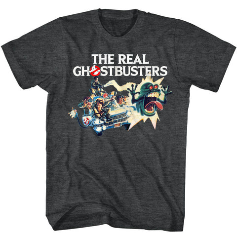 Real Ghostbusters Adult S/S T-Shirt - Car Chase - Heather Black Heather