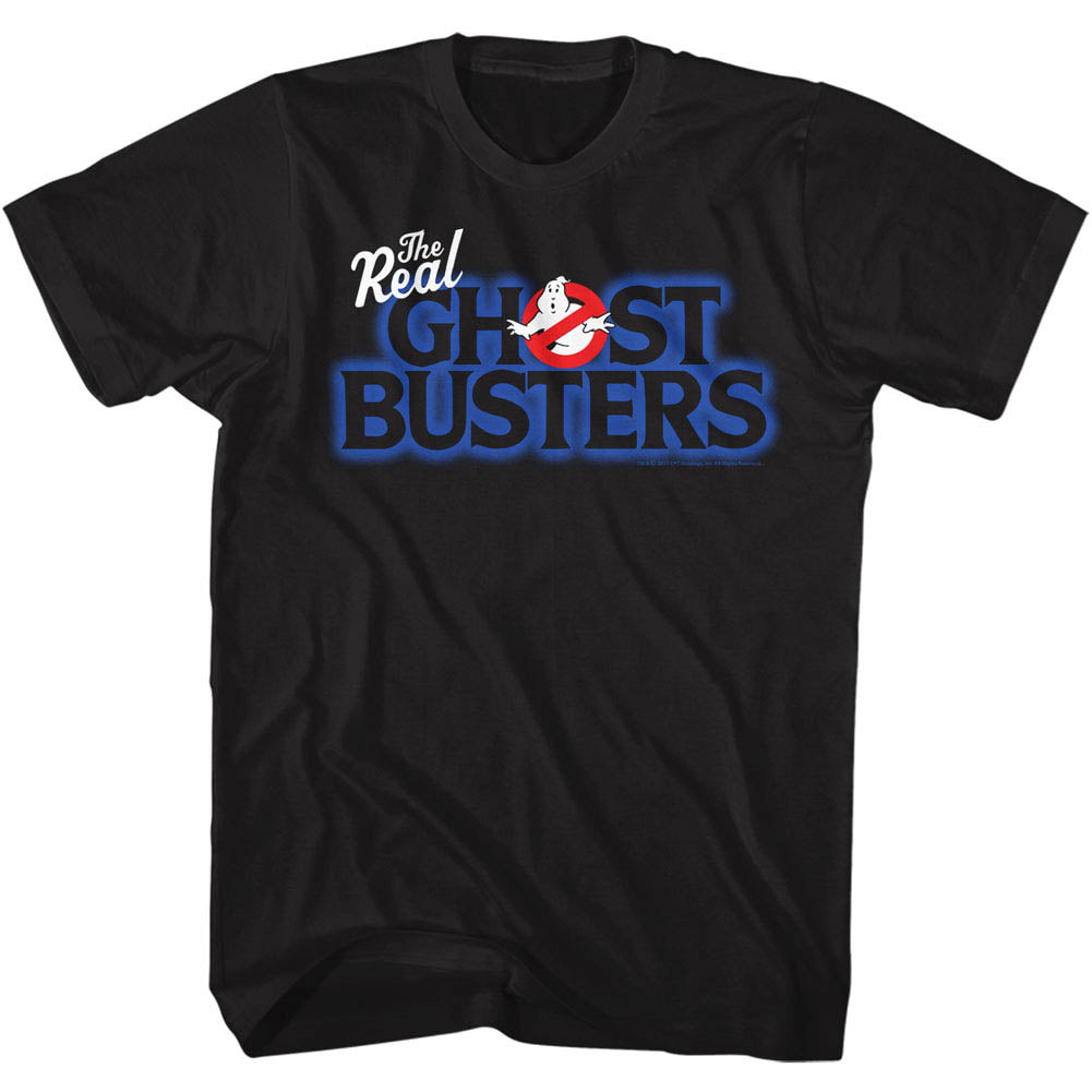 Real Ghostbusters Mens S/S T-Shirt - Real Logo - Solid Black