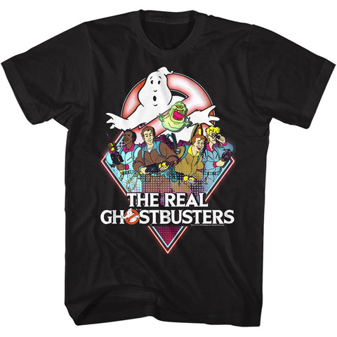Real Ghostbusters Adult S/S T-Shirt - Realgb - Solid Black