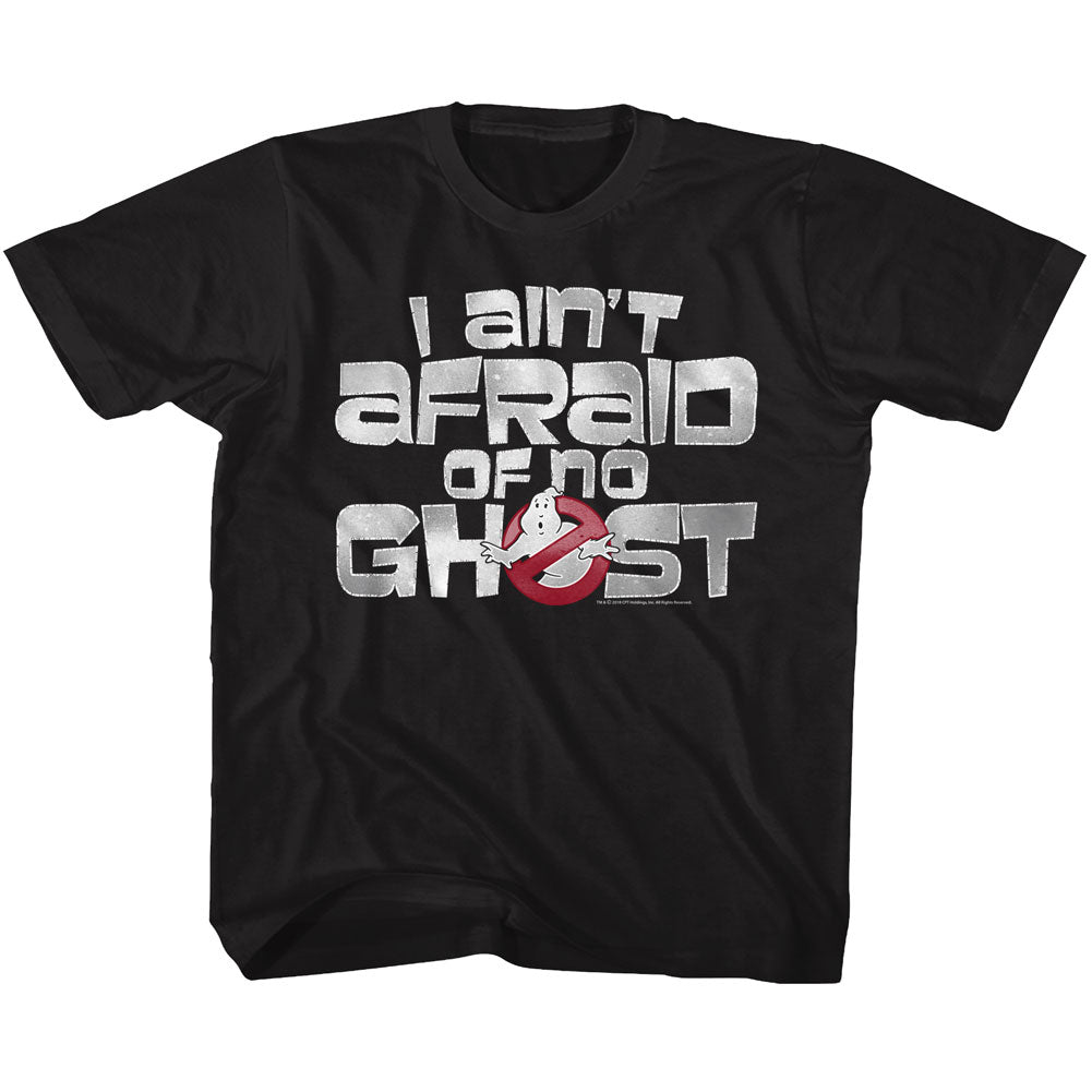 The Real Ghostbusters Youth S/S T-Shirt - Ain'T Afraid - Solid Black