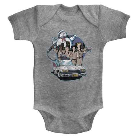 The Real Ghostbusters Infant S/S Bodysuit - Bustin' Buddies - Heather Gray Heather