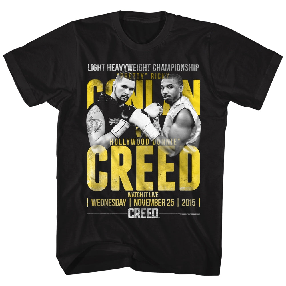 Rocky Mens S/S T-Shirt - Conlan Vs Creed - Solid Black