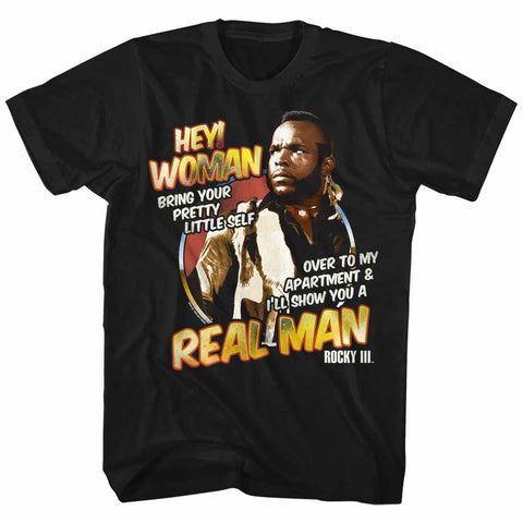 Rocky Adult S/S T-Shirt - Hey Woman - Solid Black