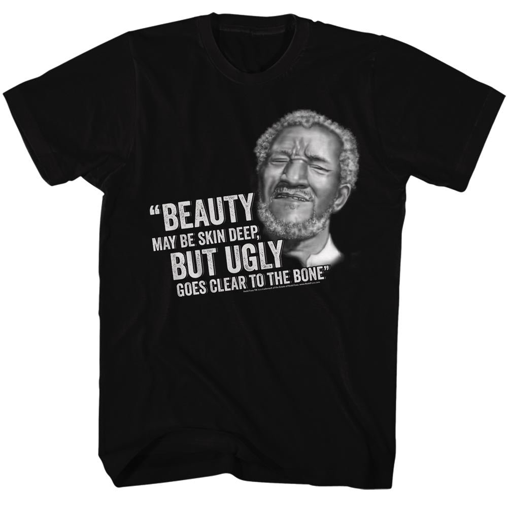 Redd Foxx Mens S/S T-Shirt - Beauty But Ugly - Solid Black