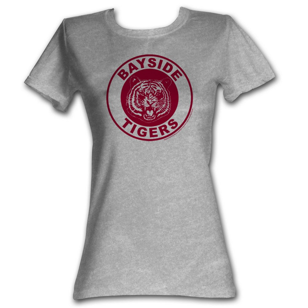 Saved By The Bell Girls Juniors S/S T-Shirt - Bayside Circle - Heather Gray Heather