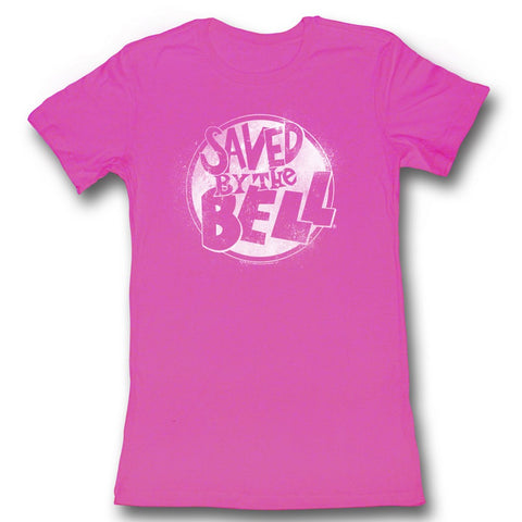 Saved By The Bell Juniors S/S T-Shirt - White - Solid Fuschia