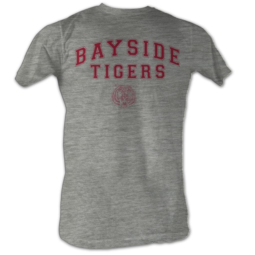 Saved By The Bell Mens S/S T-Shirt - Bayside Tigers - Heather Gray Heather