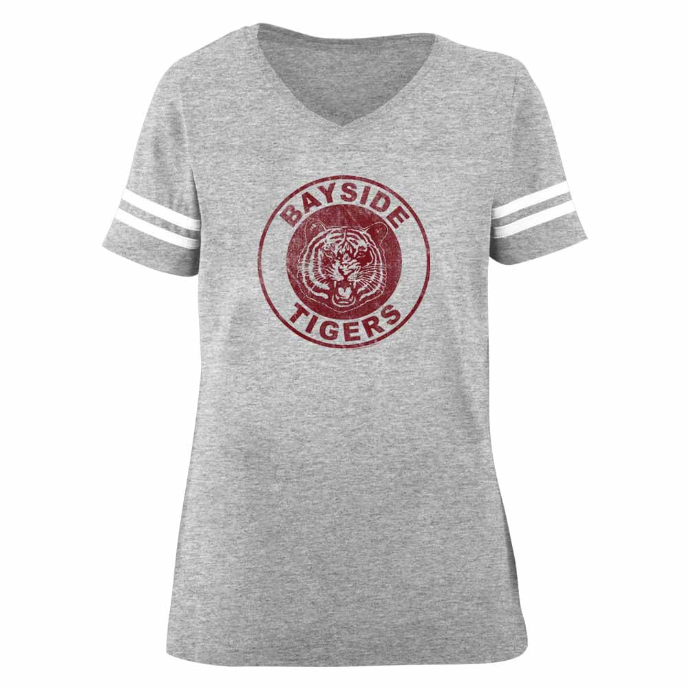Saved By The Bell Ladies S/S Fball T-Shirt - Bayside Tigers - Heather Gray Heather