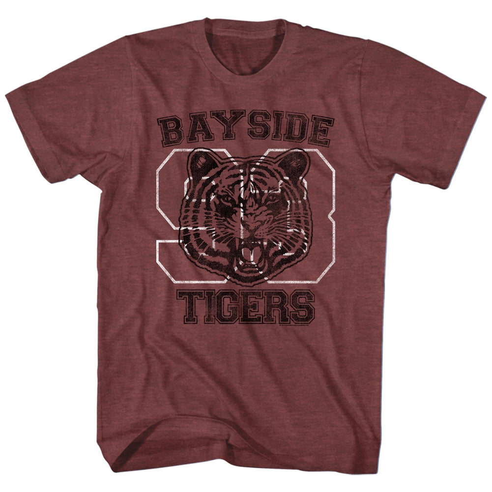 Saved By The Bell Mens S/S T-Shirt - Bayside Tigers - Heather Vintage Maroon Heather