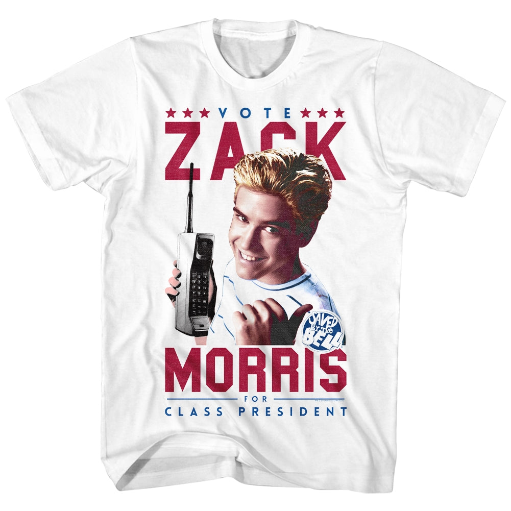 Saved By The Bell Mens S/S T-Shirt - Votezack - Solid White