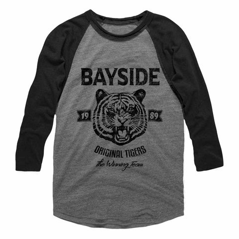 Saved By The Bell Adult 3/4 Sleeve Raglan - Original Tigers - Heather/Heather Gray Heather/Vintage Smoke
