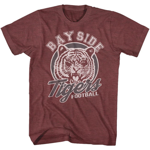 Saved By The Bell Adult S/S T-Shirt - Tigers Football - Heather Vintage Maroon Heather