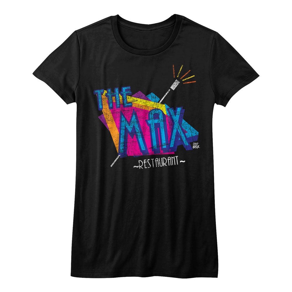 Saved By The Bell Girls Juniors S/S T-Shirt - The Max - Solid Black