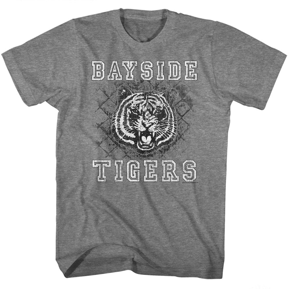 Saved By The Bell Mens S/S T-Shirt - Schoolyard Tigers - Heather Graphite Heather