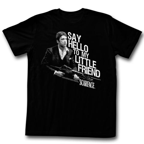 Scarface Adult S/S T-Shirt - Little Buddy - Solid Black
